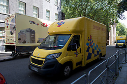 © Licensed to London News Pictures. 30/05/2020. London, UK. Removals van are seen on Downing Street in Westminster, where it is believed that Chancellor Rishi Sunak is moving in his personal belongings.  Government has announced a series of measures to slowly ease lockdown, which was introduced to fight the spread of the COVID-19 strain of coronavirus. Photo credit: Ben Cawthra/LNP