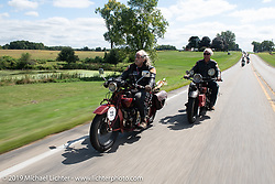 Dan Kraft riding his 1928 Indian along with his good friend Doug Feinsod (also on an Indian) during the Motorcycle Cannonball coast to coast vintage run. Stage 5 (229 miles) from Bowling Green, OH to Bourbonnais, IL. Wednesday September 12, 2018. Photography ©2018 Michael Lichter.