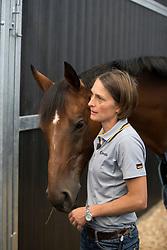 Hale Bob, Carmen Thiemann, (groom Ingrid Klimke)<br /> Departure of the horses to the Rio Olympics from Liege Airport - Liege 2016<br /> © Hippo Foto - Dirk Caremans<br /> 30/07/16