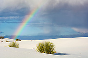 Rainbow over the gypsum dunes of White Sands National Monument, New Mexico