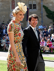 James Blunt and Sofia Wellesley arrive at St George's Chapel at Windsor Castle for the wedding of Meghan Markle and Prince Harry.