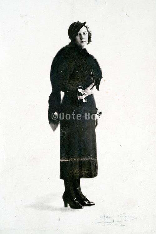 vintage fashionable woman studio portrait ca 1930s