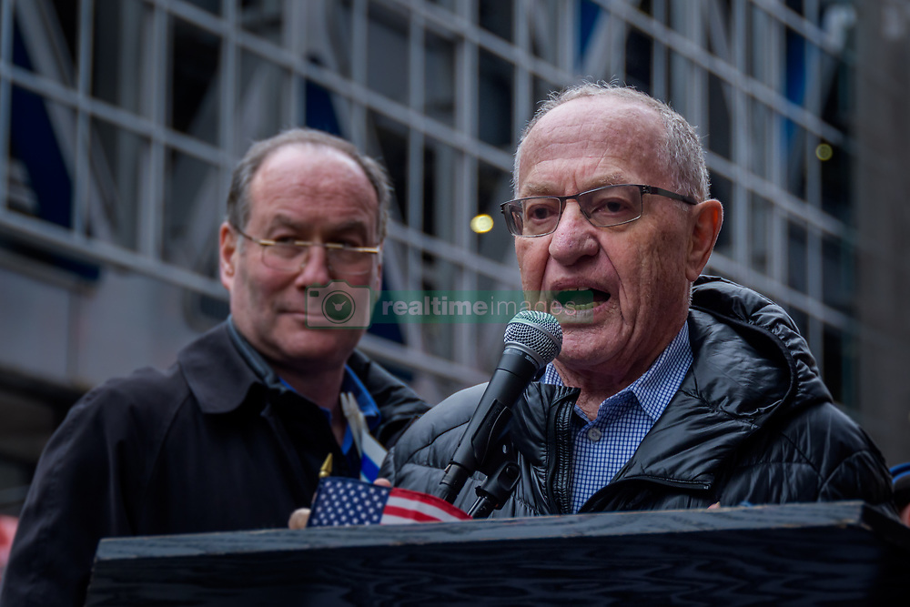 April 29, 2019 - New York, New York, United States - Alan Dershowitz - Jewish organizations held a protest on Monday, April 29, 2019 outside The New York Times offices, over the alleged anti-Semitic cartoon published in the newspaper depicting Israeli Prime Minister Benjamin Netanyahu as a dog on a leash held by a blind President Donald Trump. (Credit Image: © Erik Mcgregor/Pacific Press via ZUMA Wire)