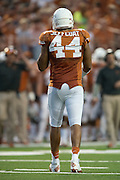 AUSTIN, TX - AUGUST 31: Jackson Jeffcoat #44 of the Texas Longhorns looks on against the New Mexico State Aggies on August 31, 2013 at Darrell K Royal-Texas Memorial Stadium in Austin, Texas.  (Photo by Cooper Neill/Getty Images) *** Local Caption *** Jackson Jeffcoat