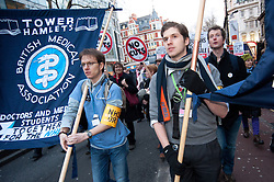 © licensed to London News Pictures. London, UK. 07/03/12. NHS doctors take part in demonstration 'Save our NHS' march & rally in Central London in protest against proposed government changes to the National Health Service. Photo credit: Jules Mattsson/LNP