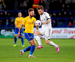 Bristol Rovers' Matty Taylor challenges AFC Telford's Ryan Higgins - Photo mandatory by-line: Neil Brookman/JMP - Mobile: 07966 386802 - 01/11/2014 - SPORT - Football - Telford - New Bucks Head Stadium - AFC Telford v Bristol Rovers - Vanarama Football Conference