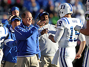 CHARLOTTESVILLE, VA- NOVEMBER 12: Head coach David Cutcliffe for the Duke Blue Devils talks with quarterback Sean Renfree #19 of the Duke Blue Devils during the game against the Virginia Cavaliers on November 12, 2011 at Scott Stadium in Charlottesville, Virginia. Virginia defeated Duke 31-21. (Photo by Andrew Shurtleff/Getty Images) *** Local Caption *** David Cutcliffe;Sean Renfree