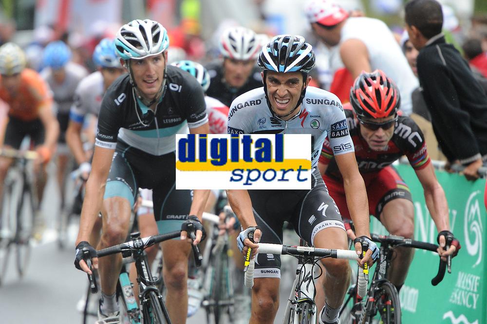 CYCLING - TOUR DE FRANCE 2011 - STAGE 8 - Aigurande > Super-Besse Sancy (189 km) - 07/07/2011 - PHOTO : POOL / DPPI - ALBERTO CONTADOR (ESP) / SAXO BANK SUNGARD - ANDY SCHLECK (LUX) / TEAM LEOPARD-TREK - CADEL EVANS (AUS) / BMC RACING TEAM