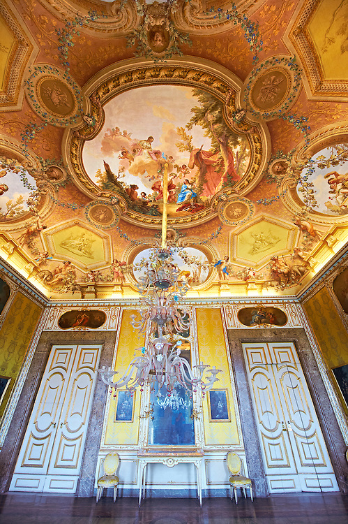 The Autumn Room- Frescoes on the vaulted ceiling depict the meetingbetween Bacchus and Ariadne, by Antonio de Dominici. Over the doors & mirrors are paintings by Gerolamo Starace painted between 1780-81, showing the mythical subjects of : Ceres, Allorgories of Dianna, Vulca, The Allagories of Saturn, Juno and Apollo. The Kings of Naples Royal Palace of Caserta, Italy. A UNESCO World Heritage Site .<br /> <br /> Visit our ITALY HISTORIC PLACES PHOTO COLLECTION for more   photos of Italy to download or buy as prints https://funkystock.photoshelter.com/gallery-collection/2b-Pictures-Images-of-Italy-Photos-of-Italian-Historic-Landmark-Sites/C0000qxA2zGFjd_k<br /> <br /> <br /> Visit our EARLY MODERN ERA HISTORICAL PLACES PHOTO COLLECTIONS for more photos to buy as wall art prints https://funkystock.photoshelter.com/gallery-collection/Modern-Era-Historic-Places-Art-Artefact-Antiquities-Picture-Images-of/C00002pOjgcLacqI
