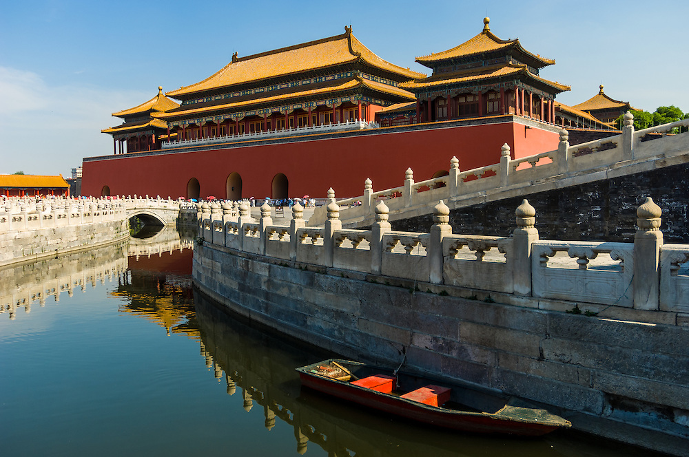 Stock photograph of canal and boat in the Forbidden City in Beijing