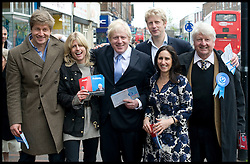 London Mayor Boris Johnson with his family L to R Leo (brother), Rachel, Boris, Jo, Marina, Father Stanley,  campaigning in Orpington, on  The Mayoral Election Day, Thursday May 3, 2012. Photo By Andrew Parsons/i-Images