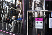 Mannequins in underwear and social distancing signs in the window of Ann Summers shop in Soho as the national coronavirus lockdown three continues on 29th January 2021 in London, United Kingdom. Following the surge in cases over the Winter including a new UK variant of Covid-19, this nationwide lockdown advises all citizens to follow the message to stay at home, protect the NHS and save lives.