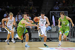 Zoran Dragic of Slovenia vs Mantas KALNIETIS of Lithuania during friendly match between National Teams of Slovenia and Lithuania before World Championship Spain 2014 on August 18, 2014 in Kaunas, Lithuania. Photo by Robertas Dackus / Sportida.com