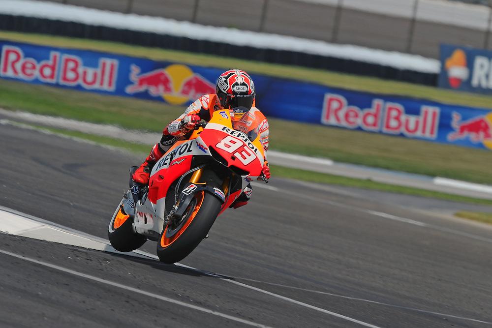 Repsol Honda rider Marc Marquez at the 2013 Red Bull Indianapolis Moto Grand Prix at Indianapolis Motor Speedway.