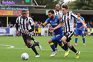 AFC Wimbledon striker Andy Barcham (17) dribbling and on the attack during the EFL Sky Bet League 1 match between AFC Wimbledon and Rochdale at the Cherry Red Records Stadium, Kingston, England on 30 September 2017. Photo by Matthew Redman.