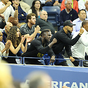 2017 U.S. Open Tennis Tournament - DAY ELEVEN. Soccer player Jozy Altidore, (center), partner of Sloane Stephens of the United States cheers her on against Venus Williams of the United States in the Women's Singles Semifinals match at the US Open Tennis Tournament at the USTA Billie Jean King National Tennis Center on September 07, 2017 in Flushing, Queens, New York City.  (Photo by Tim Clayton/Corbis via Getty Images)