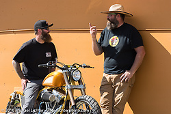 David Adams and Joe Mielke at the FXR Dyna Show held at the Sturgis Dragway during the annual Sturgis Black Hills Motorcycle Rally.  SD, USA.  August 7, 2016.  Photography ©2016 Michael Lichter.