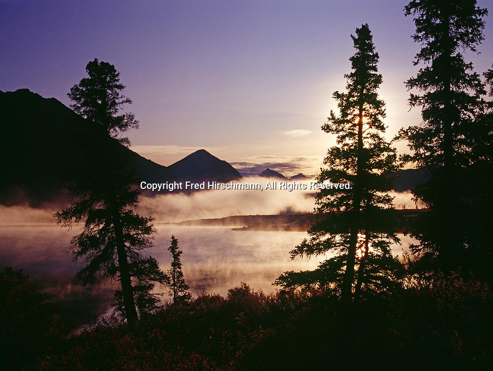 September morning mist over Lower Twin Lake, Lake Clark National Park, Alaska.