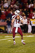 Nov 5, 2011; Fayetteville, AR, USA;  South Carolina gamecock quarterback Connor Shaw (14) looks to make a pass during the first half of a game against the Arkansas Razorbacks at Donald W. Reynolds Stadium.  Mandatory Credit: Beth Hall-US PRESSWIRE