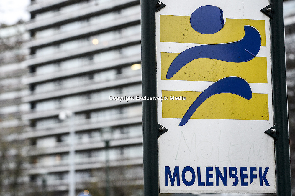 Nov. 16, 2015 - Brussels, BELGIUM - <br /> BRUSSELS, BELGIUM:<br /> <br /> Search for Paris Terror Suspect in Brussels<br /> <br /> Illustration shows 'Molenbeek' on a sign in Sint-Jans-Molenbeek / Molenbeek-Saint-Jean, Brussels on Monday 16 November 2015. During the weekend searches were carried out and multiple people were arrested in relation to Friday's terrorist attacks in Paris. Several terrorist attacks in Paris, France, have left at least 129 dead and 350 injured. Most people were killed during a concert in venue Bataclan, the other targets were a restaurant and a soccer game. The attacks have been claimed by Islamic State.<br /> ©Exclusivepix Media
