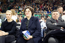 Anja Vilfan Ilievski, wife of Vlado Ilievski with his mother and father during Euroleague basketball match between KK Union Olimpija and Barcelona, on November 11, 2004, in Hala Tivoli, Ljubljana, Slovenia. (Photo By Vid Ponikvar / Sportida.com)