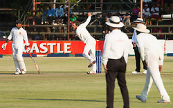 Zimbabwe bowler Sean Williams in action during the 100th test match played by Zimbabwe in a match with Sri Lanka at Harare Sports Club 29 October 2016.
