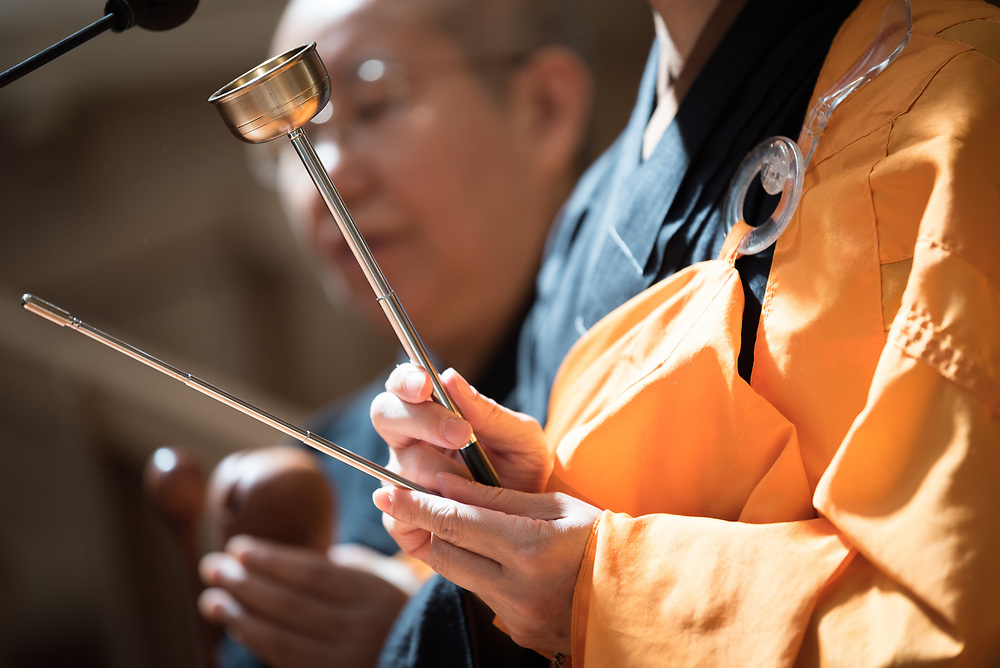 23 July 2018, Amsterdam, the Netherlands: The Venerable Miaoyi Shih leads a moment of Buddhist prayer. On 23 July, an international Interfaith Memorial and Prayer Service takes place in the Keizersgrachtkerk in Amsterdam, the Netherlands. Gathering local congregants together with international guests, the service takes place in connection with the 2018 International AIDS Conference, held in Amsterdam on 23-27 July.
