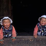 China, People, Tibetan farmers, Twin Children. Sichuan, China.