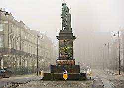 Statue of Robert Viscount Melville, Melville Street, Edinburgh, daubed with anti-slavery graffiti. pic by Terry Murden @edinburghelitemedia