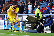 Mirco Antenucci of Leeds united (l) celebrates with his teammates after scoring his teams 1st goal. Skybet football league Championship match, Huddersfield Town v Leeds United at the John Smith's Stadium in Huddersfield, Yorks on Saturday 7th November 2015.<br /> pic by Chris Stading, Andrew Orchard sports photography.