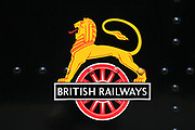 British Railways logo, North Norfolk heritage steam railway line,  England, UK British Railways logo