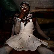SOUTH AFRICA- Zukani Kolela is having a cigarette break during his own initiation.