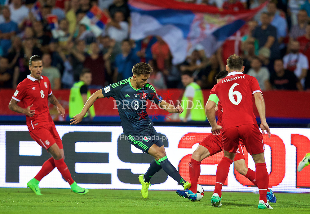 BELGRADE, SERBIA - Sunday, June 11, 2017: Wales' Emyr Huws during the 2018 FIFA World Cup Qualifying Group D match between Wales and Serbia at the Red Star Stadium. (Pic by David Rawcliffe/Propaganda)