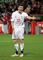 "Photo: Paul Thomas.<br /> Bayer Leverkusen v Tottenham Hotspur. UEFA Cup. 23/11/2006.<br /> <br /> Robbie Keane of Spurs complains and shows his frustration to Mido about his ""non pass"" in front of goal."