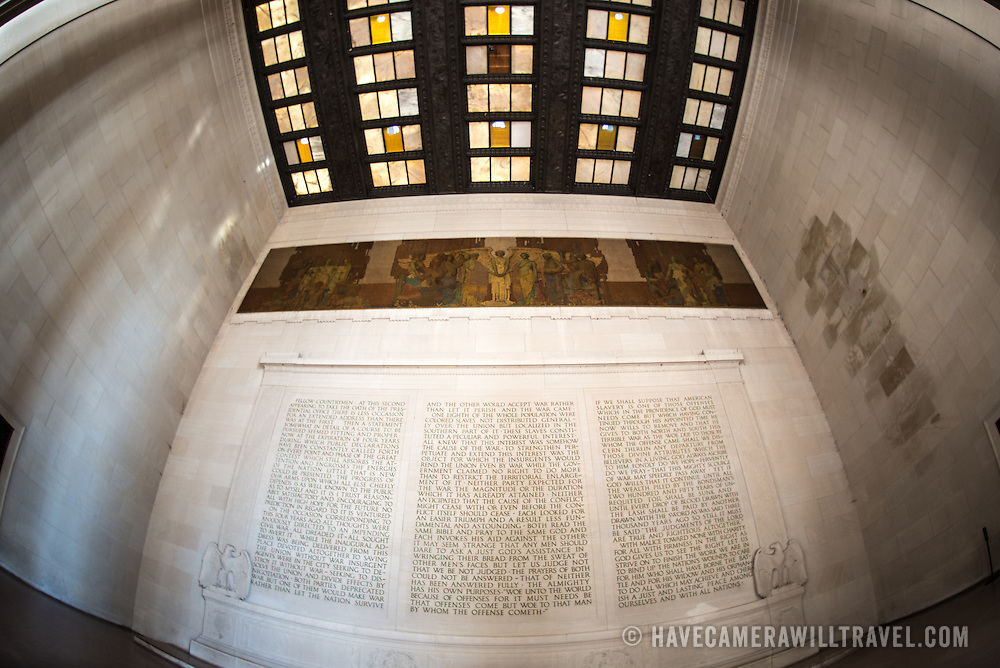 The text of Abraham Lincoln's second inaugural address etched into the northern wall of the Lincoln Memorial in Washington DC. On the opposite wall is the text of the Gettysburg Address.