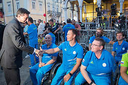 Borut Pahor with athletes of Slovenian Paralympic team at presentation of Slovenian Olympic Team for Rio 2016, on July 22, 2016 in Koper, Slovenia. Photo by Matic Klansek Velej / Sportida
