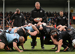 Exeter Chiefs Forwards Coach Rob Hunter overseas a scrum warm up before kick off during the Aviva Premiership match at Sandy Park, Exeter.