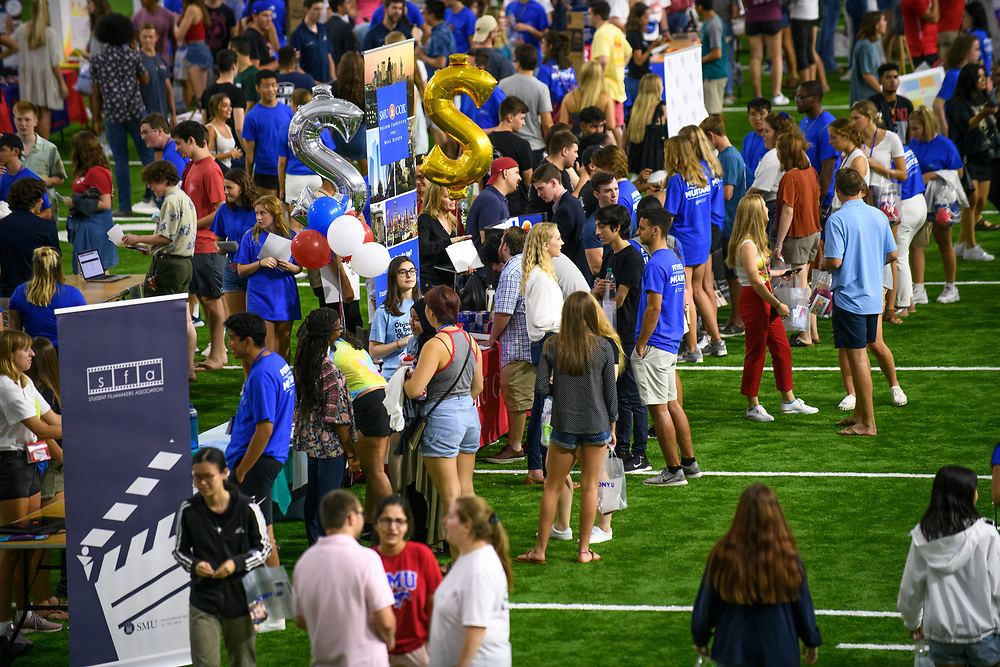 First year students attend A Night at the Club to learn about joining clubs and organizations during Stampede, Saturday, August 24, 2019 in the Armstrong Fieldhouse on the SMU Campus.