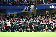 Bournemouth  fans cheer the players after the final whistle. Barclays Premier league match, Chelsea v AFC Bournemouth at Stamford Bridge in London on Saturday 5th December 2015.<br /> pic by John Patrick Fletcher, Andrew Orchard sports photography.