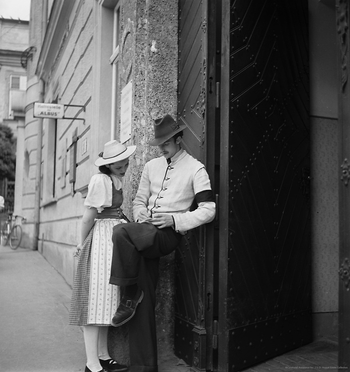 Young Couple Dressed in National Costumes, Salzburg, Austria, 1937