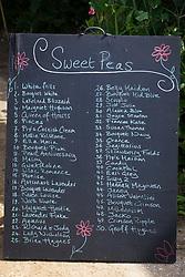 Blackboard listing sweet pea varieties at Parham House