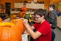 Laconia Middle School pumpkin carving for Pumpkin Fest 2015.  Karen Bobotas for the Laconia Daily Sun