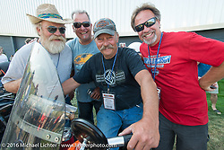 Kenney Sweeney's Team 114 celebrates after crossing the finish line at the end of Stage 16 (142 miles) of the Motorcycle Cannonball Cross-Country Endurance Run, which on this day ran from Yakima to Tacoma, WA, USA. Sunday, September 21, 2014.  Photography ©2014 Michael Lichter.