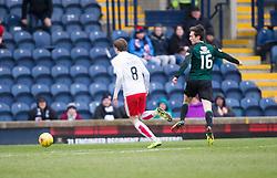 Raith Rovers Ryan Hardie scoring their second goal. <br /> Raith Rovers 2 v 2 Falkirk, Scottish Championship game played 23/4/2016 at Stark's Park.