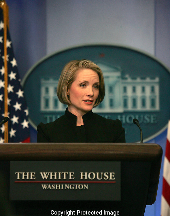 White House Press Secretary Dana Perino answers a question from a White House reporter at the daily press briefing in the White House Press Room on January 2, 2008.  Photograph: Dennis Brack