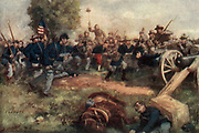 General Pickett's disastrous charge at Gettysburg Color artwork painting from the book ' The Civil war through the camera ' hundreds of vivid photographs actually taken in Civil war times, sixteen reproductions in color of famous war paintings. The new text history by Henry W. Elson. A. complete illustrated history of the Civil war