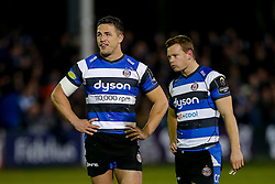 Bath Inside Centre Sam Burgess, making his first start for the Club, and Scrum-Half Chris Cook look on after Bath Winger Matt Banahan scores a try - Photo mandatory by-line: Rogan Thomson/JMP - 07966 386802 - 12/12/2014 - SPORT - RUGBY UNION - Bath, England - The Recreation Ground - Bath Rugby v Montpellier Herault Rugby - European Rugby Champions Cup Pool 4.