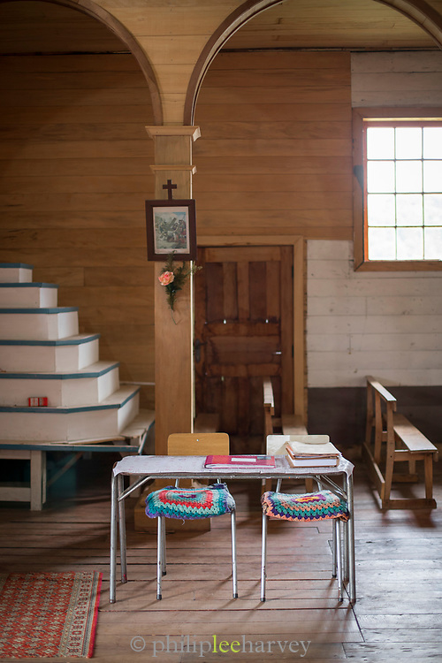 Interior of the the San Juan Church,Chiloe,Chile.