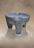 Hittite stone mortar for grinding grain from Hittite capital Hattusa, Hittite New Kingdom 1650-1450 BC, Bogazkale archaeological Museum, Turkey.