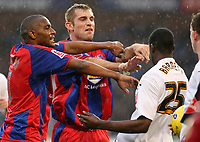 Photo: Alex Pelaez.<br /> Crystal Palace v Luton Town. Coca Cola Championship. 24/02/2007.<br /> Scowcroft of Palace pushes Barnett of Luton